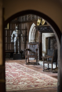 The Great Hall at Ightham Mote, Kent. Ightham Mote is a medieval moated manor house near Sevenoaks.
